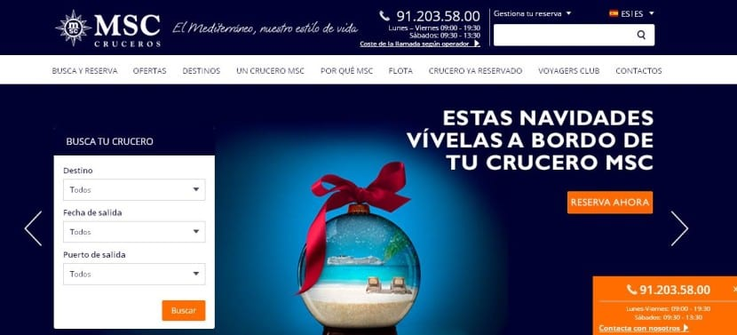 pagina web msc cruceros